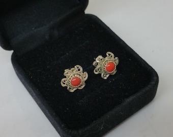 Seek Silver earrings 925 with coral SO255