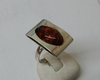 Art Deco amber ring 925 Silver 18.8 mm size 8.7 SR123