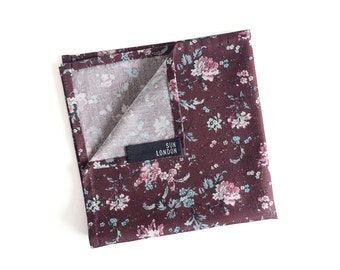 Thomas Floral Burgundy Cotton Pocket Square, Men's Hand-Rolled Handkerchief