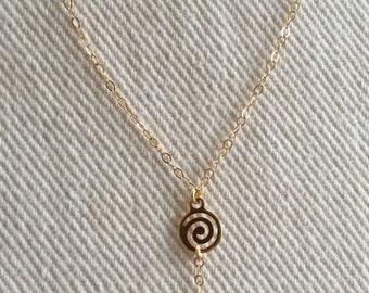 Spiral Drop Gold Necklace