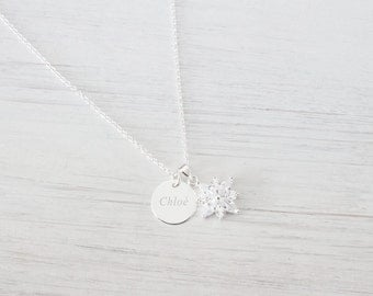 Personalized Sterling Silver Disc Snowflake Necklace, Tiny Dainty Delicate Minimalist Frozen Necklace, Snowflake Crystal Valentines day Gift