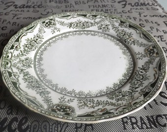 Antique (c.1905-1910) British Canadian Crockery Co.  | Myott King Edward bread-and-butter plate. Art nouveau florals. Made in England
