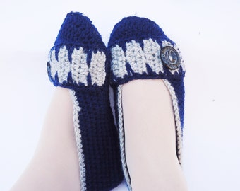 Women Slippers, Crochet Women Slippers, Blue Slippers, Women's Flats Slippers, Home Slippers, Slippers with Slip-Sole