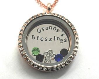 GRANNY'S BLESSINGS - Custom Floating Charm Locket - Memory Locket - Custom Hand Stamped Gift for Granny
