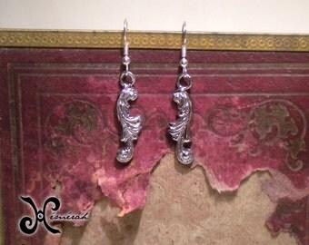 Earrings - Baroque Volutes - Rock - Bronze, Chrome, silver - jewel