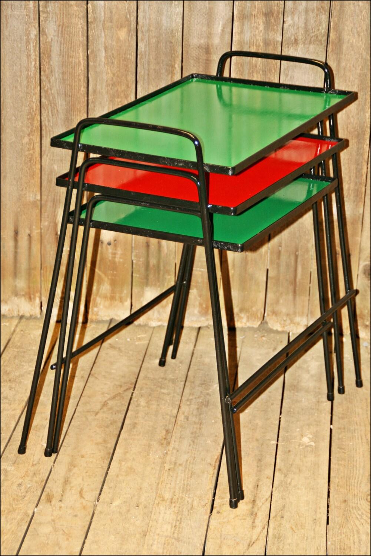 3 mid century modern plant stand set nesting table vintage. Black Bedroom Furniture Sets. Home Design Ideas