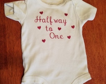 Baby Girl Outfit- Halfway to One- Headband Set