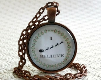 I Believe Necklace   Glass Pendant   I Believe In Santa   Christmas Gift Ideas Free Gift Box   Stocking Stuffers   Gifts Under 20