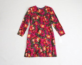 floral silk dress / 80s floral dress / pleated dress