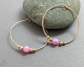 Pink Gold Opal Hoops Gold Hoop Earrings Bridal Jewelry Bridesmaids Earrings Pink Opal Hoop Earrings October Birthstone Hoops Large Hoops