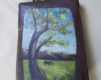 Antique Hand Painted Cow Bell Rustic Primitive Forged Metal Dinner Bell