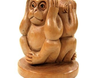 See No Evil, Hear No Evil, Speak No Evil Three Wise Monkeys Carving