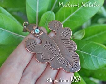 Copper Tone Leaf Pendant, Leaf with Flower Pendant, Copper Oak Leaf with Blue Flower, Engraved Leaf Pendant, Autumn Leaf Pendant Necklace