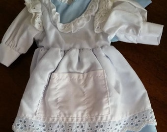 Doll Dress House of Lloyd Blue and White Pinafore Doll Dress