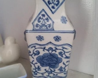 Reduced Blue and White Square Oriental Vase Handled Ears