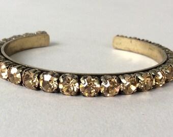 J Crew Gold Tone Rhinestone Cuff Bracelet