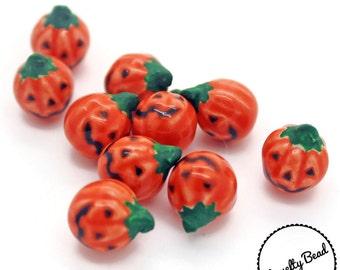 10 - Small - Pumpkin - Jack o' Lantern  - Jackolantern Beads - Halloween Beads - Fall Beads - Novelty Beads - Ceramic