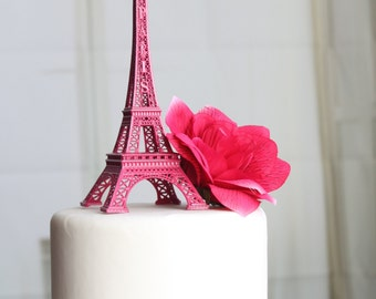 "6"" Hot Pink Paris Eiffel Tower Cake Topper, Madeline, France, Centerpiece, Parisina Decoration, overthetopcaketopper"