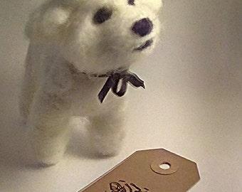 Felted bichon frise dog.needle felted dog.soft sculpture