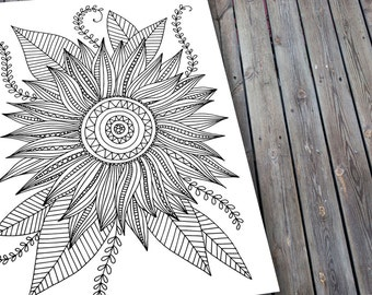 Sunflower Adult Colouring Page, Printable Floral Colouring Pages, Zen Doodle Art, Mandala