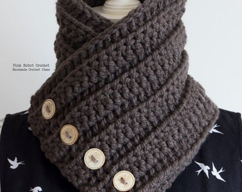 Buttoned Cowl - Chunky Neck Warmer - Chunky Crochet Cowl - Brown Cowl - Crochet Cowl - Crochet Neck Warmer - Fall/Winter Fashion