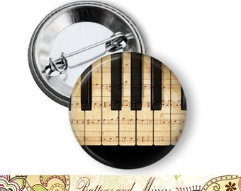 "Piano 1.25"" or Larger Pinback Button, Flatback or Fridge Magnet, Badge, Pin, Pocket Mirror, Keychain, Bottle Opener, Music"