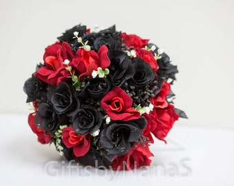 Red And Black Silk Wedding Bouquet Goth With White Berries Babys