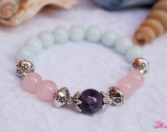 Amethyst Bracelet, Rose Quartz Bracelet, Agate Bracelet, Energy Bracelet, Yoga Bracelet, Wrist Mala, Chakra bracelet, Healing Bracelet