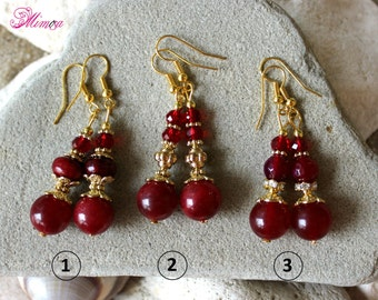 Ruby Red Earrings, Marsala Agate Earrings, Burgundy Earrings, Bordeaux Earrings, Red Wine Earrings, Victorian Earrings, Red Crystal Earrings