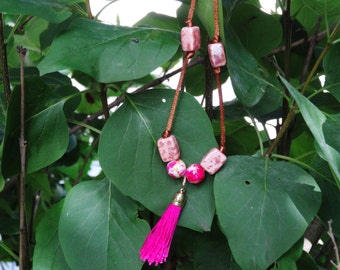 Pink and Brown Tassel Necklace - Magenta Tassel with Pink Ceramic Beads - Stylish, Modern Necklace, Great Gift for Her, Gift for Girlfriend