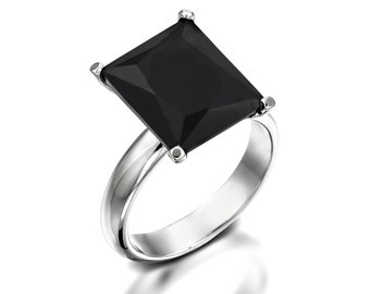 big black onyx ring onyx engagement ring black enagagement ring cocktail ring