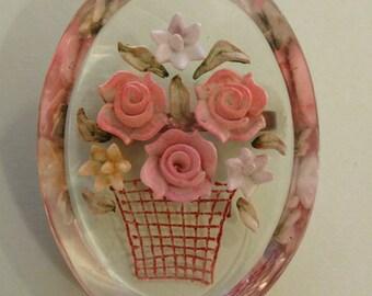 Vintage Lucite Flower Brooch, Clear Lucite