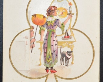 Halloween Postcard Witch in Mirror JOL Reflection Black Cat Nash H-13 Series Card