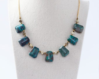 Chrysocolla Necklace, Chrysocolla Stone, Natural Necklace, Unique Jewelry, Elegant Look, Gemstone Necklace