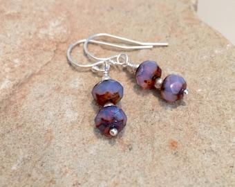 Purple drop earrings, dangle earrings, faceted glass bead earrings, boho earrings, sterling silver drop earrings, silver dangle earrings
