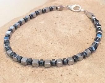 Black, gray and silver bracelet, hematite bracelet, sterling silver bracelet, boho style bracelet, statement bracelet, gift for her