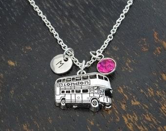 London Bus Necklace, London Bus Charm, London Bus Pendant, London Jewelry, Double Decker Bus, England Necklace, UK Necklace, London Charm