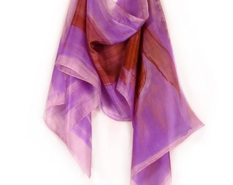 Lilac Hand painted scarf. Floral silk scarf in golden ochre and purple violet. Mothers Day gift idea.Painting on silk by Dimo
