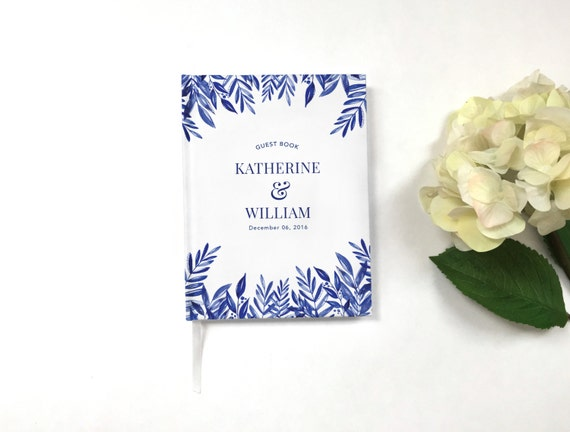 Wedding Guest Book - Modern Wedding Guestbook - Custom Guest Book - Personalized Guestbook - Wedding Keepsake - Blue and White Guestbook
