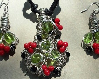 """Wire Jewelry Set, Handmade- Crystal, Silver, Design, Pendant Necklace (L- 15"""", Adjustable)/Earrings (1.25"""")"""