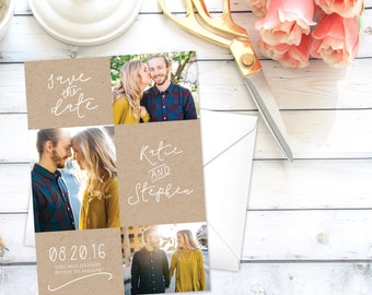 Save the Date Announcement   Save the Date   Invitation   Three Photos   Mutiple Photos   Simple   DIY   Printable