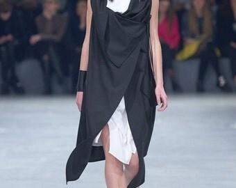 Black long vest / Long Light Asymmetrical Designer Vest / Loose Dress-Vest by DIDRESS