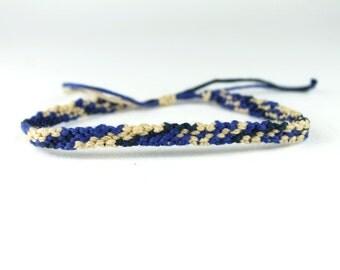 Beige And Blue Friendship Bracelet
