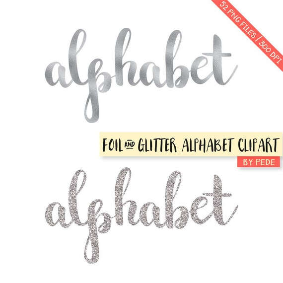 Alphabet Foil Silvers: BUY 3 FOR 8 USD Silver Glitter And Foil Alphabet Clipart