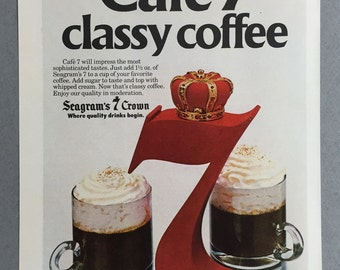 1981 Seagram's 7 Crown Whiskey Print Ad - Cafe 7
