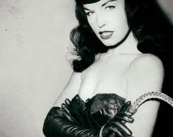 Bettie Page pinup photo, print, poster BDSM dominatrix erotic Risque Antique fetish photography 1940s