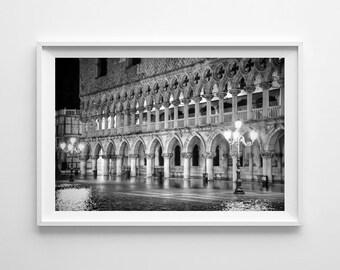 Italy Photography, Venice at night, Black And White Venice, Cityscape, Venice Skyline, Italy Wall Art, Fine Art Photography B&W, Italy Decor