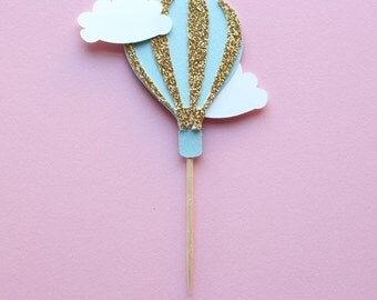 Hot Air Balloon Cupcake Toppers - Up Up and Away Party - Cupcake Pick - Baby Shower Decorations - First Birthday Decor - Cupcake Toppers