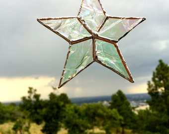 Stained Glass clear textured simple star suncatcher