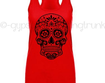 Sugar Skull Tank Top - Sugar Skull - Red Skull Tank Top - Sugar Skull Clothing - Skull Clothing - Day of the Dead Tank Top - Halloween
